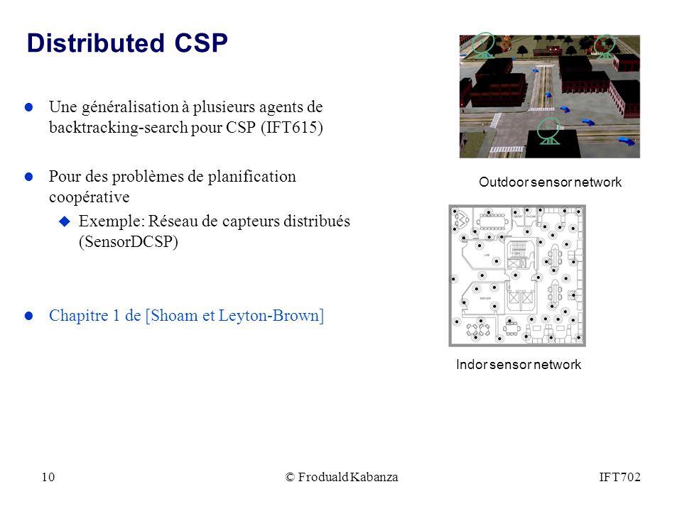 © Froduald KabanzaIFT70210 Distributed CSP l Une généralisation à plusieurs agents de backtracking-search pour CSP (IFT615) l Pour des problèmes de planification coopérative u Exemple: Réseau de capteurs distribués (SensorDCSP) l Chapitre 1 de [Shoam et Leyton-Brown] Outdoor sensor network Indor sensor network