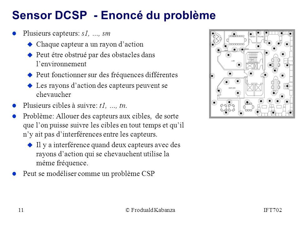 © Froduald KabanzaIFT70211 Sensor DCSP - Enoncé du problème l Plusieurs capteurs: s1, …, sm u Chaque capteur a un rayon daction u Peut être obstrué pa