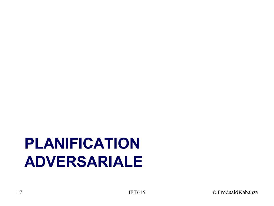 PLANIFICATION ADVERSARIALE IFT615© Froduald Kabanza17