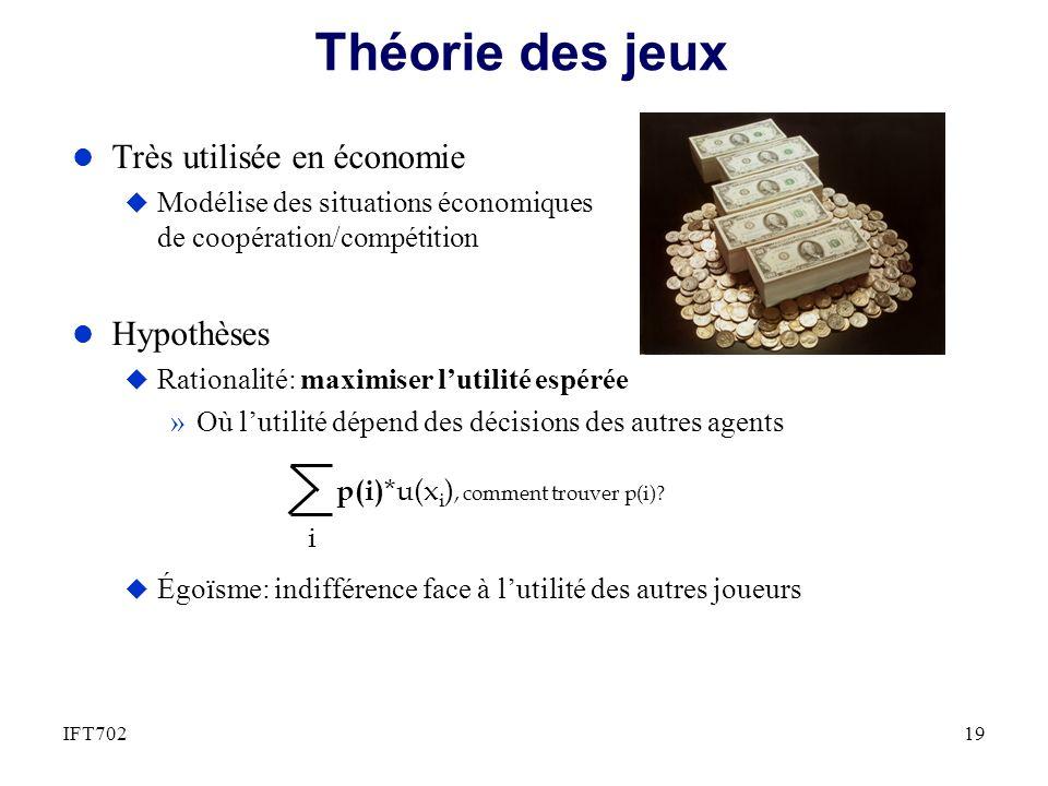 Théorie des jeux l Très utilisée en économie u Modélise des situations économiques de coopération/compétition l Hypothèses u Rationalité: maximiser lu