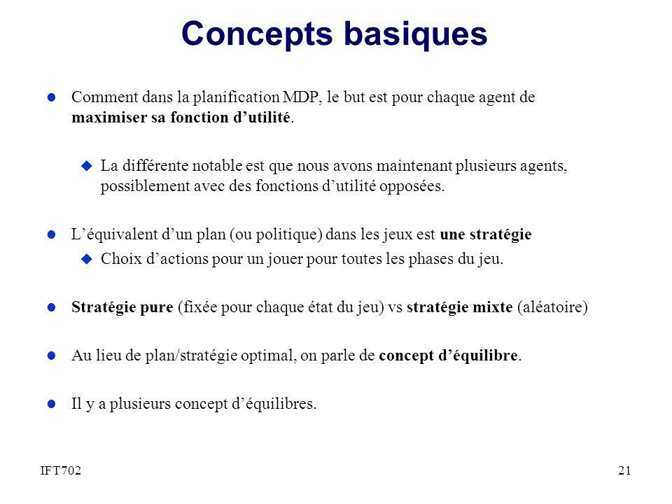 Concepts basiques l Comment dans la planification MDP, le but est pour chaque agent de maximiser sa fonction dutilité. u La différente notable est que