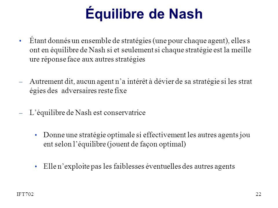 Équilibre de Nash Étant donnés un ensemble de stratégies (une pour chaque agent), elles s ont en équilibre de Nash si et seulement si chaque stratégie est la meille ure réponse face aux autres stratégies – Autrement dit, aucun agent na intérêt à dévier de sa stratégie si les strat égies des adversaires reste fixe – Léquilibre de Nash est conservatrice Donne une stratégie optimale si effectivement les autres agents jou ent selon léquilibre (jouent de façon optimal) Elle nexploite pas les faiblesses éventuelles des autres agents 22IFT702