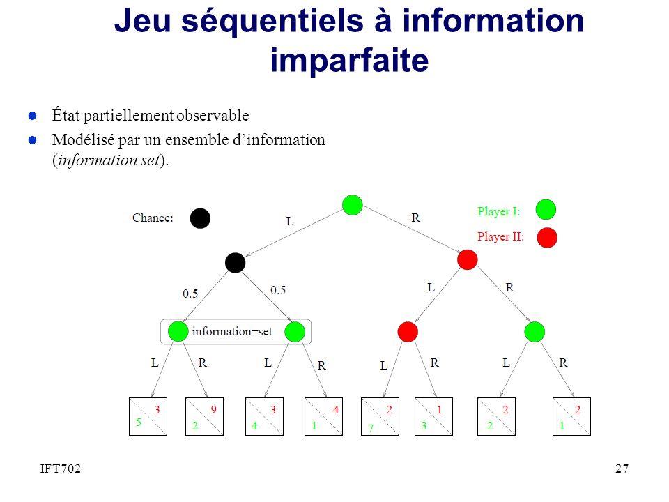 Jeu séquentiels à information imparfaite 27IFT702 l État partiellement observable l Modélisé par un ensemble dinformation (information set).