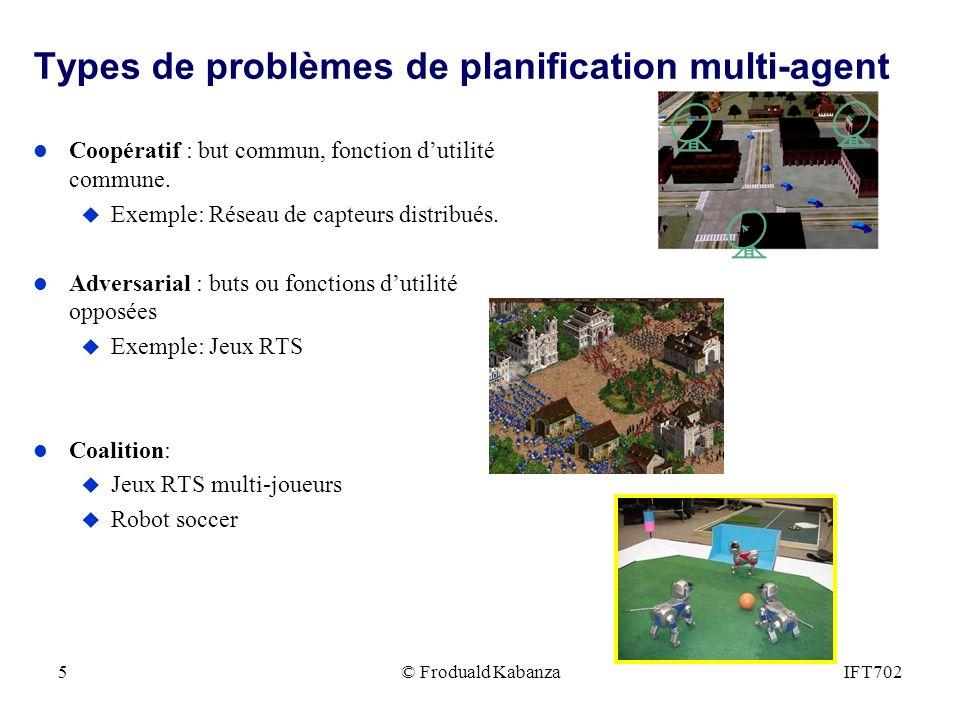 IFT7025 Types de problèmes de planification multi-agent l Coopératif : but commun, fonction dutilité commune. u Exemple: Réseau de capteurs distribués