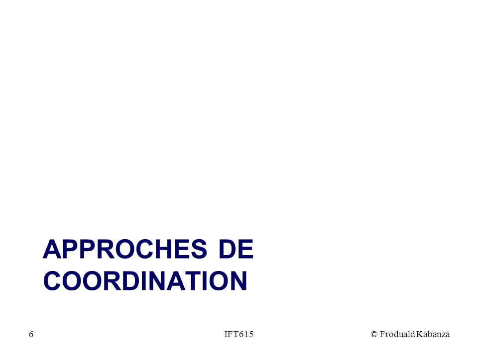 APPROCHES DE COORDINATION IFT615© Froduald Kabanza6
