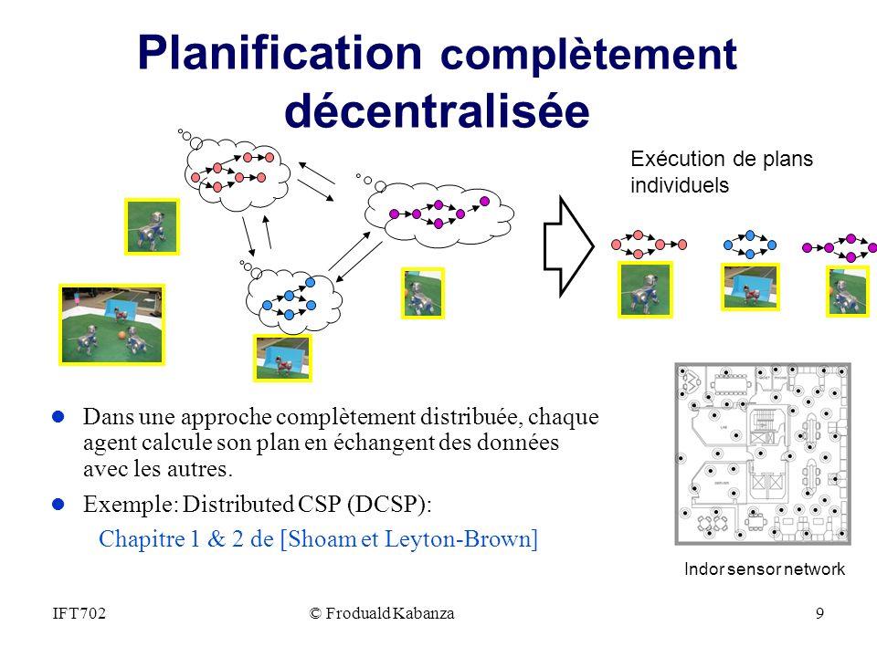 Planification complètement décentralisée l Dans une approche complètement distribuée, chaque agent calcule son plan en échangent des données avec les