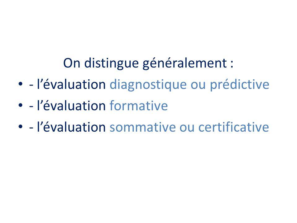 Évaluation diagnostique (ou prédictive) Exemples : contrôles de début dannée, évaluations nationales de masse … Au début dune année, dun chapitre … État des lieux : – Que savent-ils déjà .
