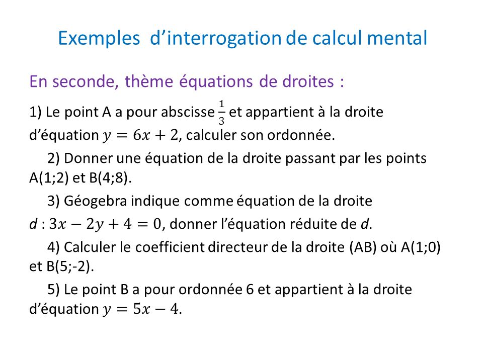 Exemples dinterrogation de calcul mental