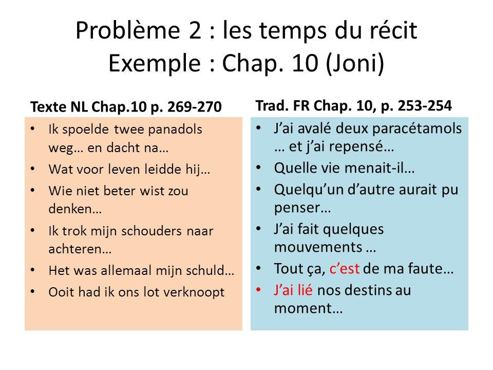 Problème 2 : les temps du récit Exemple : Chap.10 (Joni) Texte NL Chap.10 p.