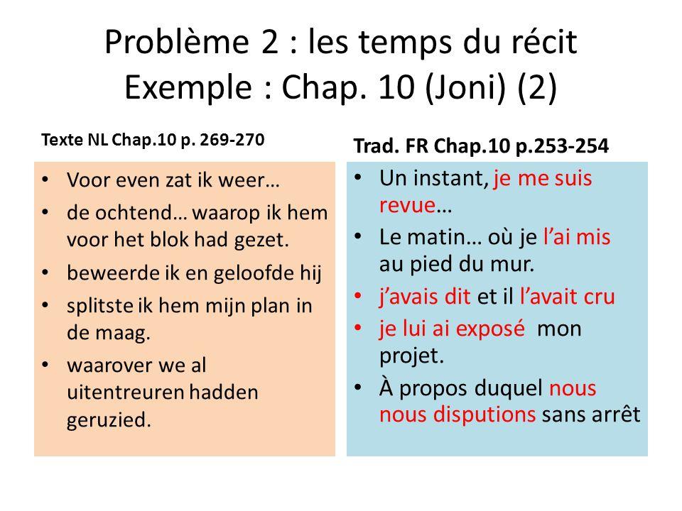 Problème 2 : les temps du récit Exemple : Chap.10 (Joni) (2) Texte NL Chap.10 p.