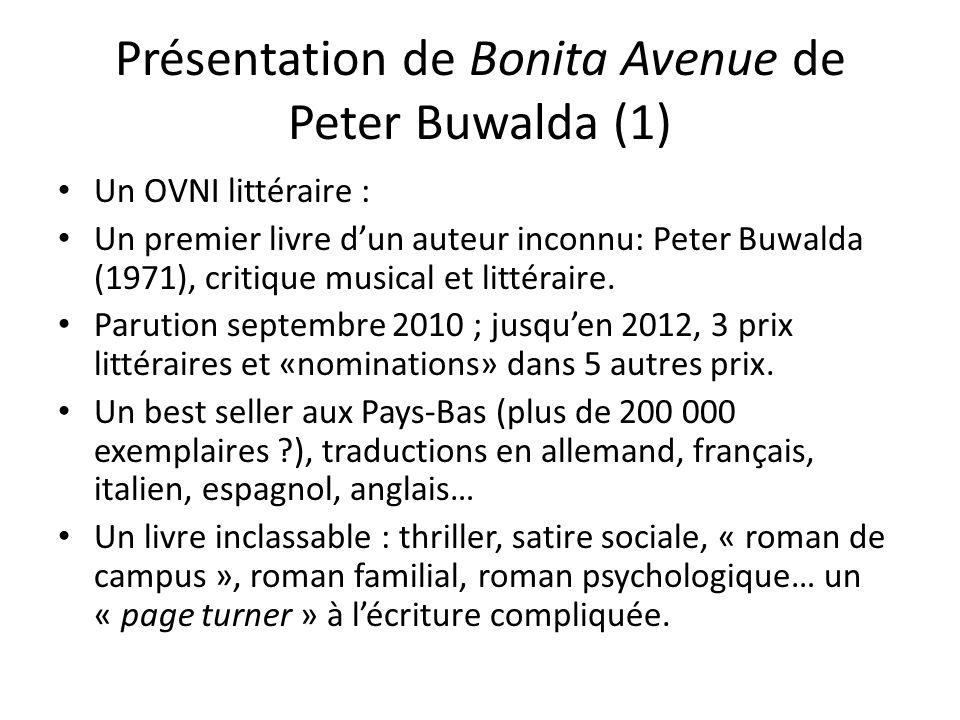 Présentation de Bonita Avenue de Peter Buwalda (2) Tentative de résumé : 4 personnages principaux: Simon Sigerius, sa belle-fille (stiefdochter) Joni, son fils Wilbert, et Aaron Bever, lami de Joni.