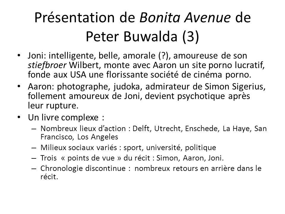 Présentation de Bonita Avenue de Peter Buwalda (3) Joni: intelligente, belle, amorale (?), amoureuse de son stiefbroer Wilbert, monte avec Aaron un site porno lucratif, fonde aux USA une florissante société de cinéma porno.