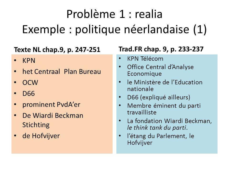 Problème 1 : realia Exemple : politique néerlandaise (2) Texte NL chap.9, p.