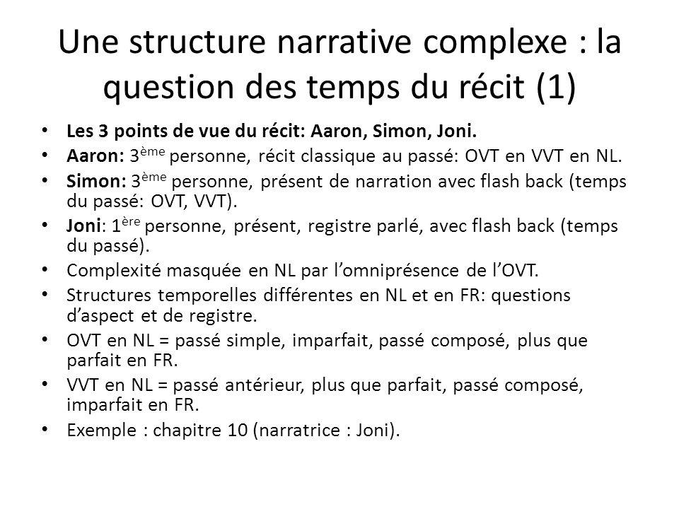 Une structure narrative complexe : la question des temps du récit (1) Les 3 points de vue du récit: Aaron, Simon, Joni.