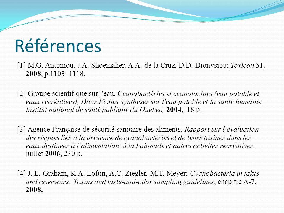 Références [1] M.G. Antoniou, J.A. Shoemaker, A.A. de la Cruz, D.D. Dionysiou; Toxicon 51, 2008, p.1103–1118. [2] Groupe scientifique sur l'eau, Cyano