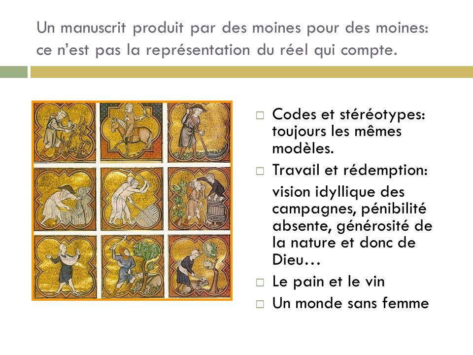 Un manuscrit produit par des moines pour des moines: ce nest pas la représentation du réel qui compte. Codes et stéréotypes: toujours les mêmes modèle