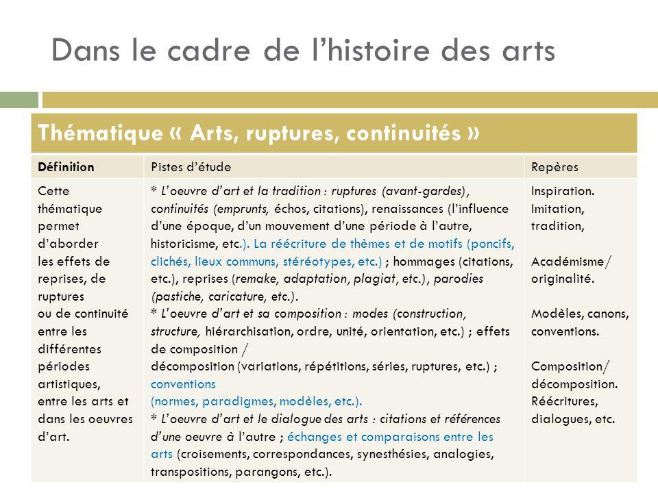 Dans le cadre de lhistoire des arts Thématique « Arts, ruptures, continuités » DéfinitionPistes détudeRepères Cette thématique permet daborder les eff