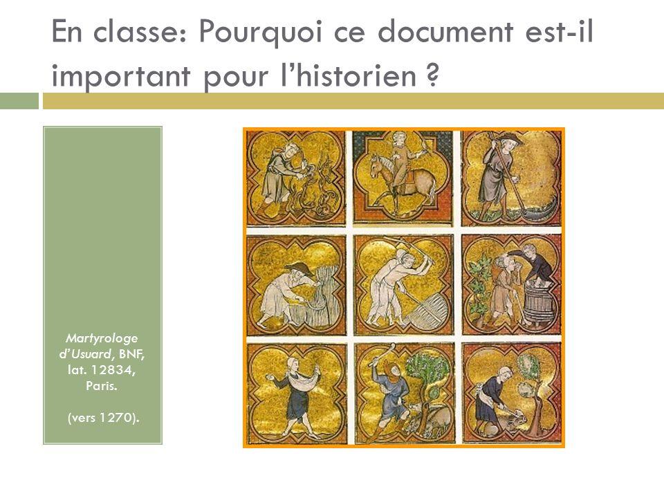 En classe: Pourquoi ce document est-il important pour lhistorien ? Martyrologe dUsuard, BNF, lat. 12834, Paris. (vers 1270).