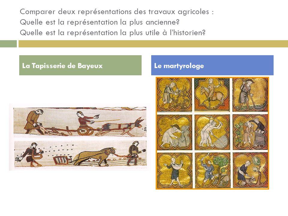 Comparer deux représentations des travaux agricoles : Quelle est la représentation la plus ancienne? Quelle est la représentation la plus utile à lhis