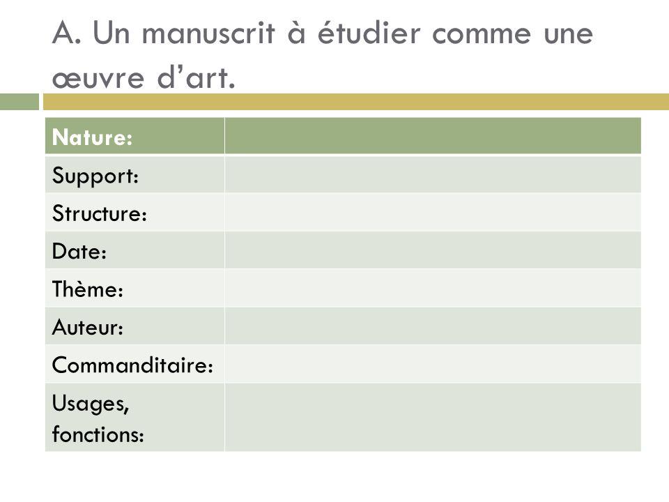 A. Un manuscrit à étudier comme une œuvre dart. Nature: Support: Structure: Date: Thème: Auteur: Commanditaire: Usages, fonctions: