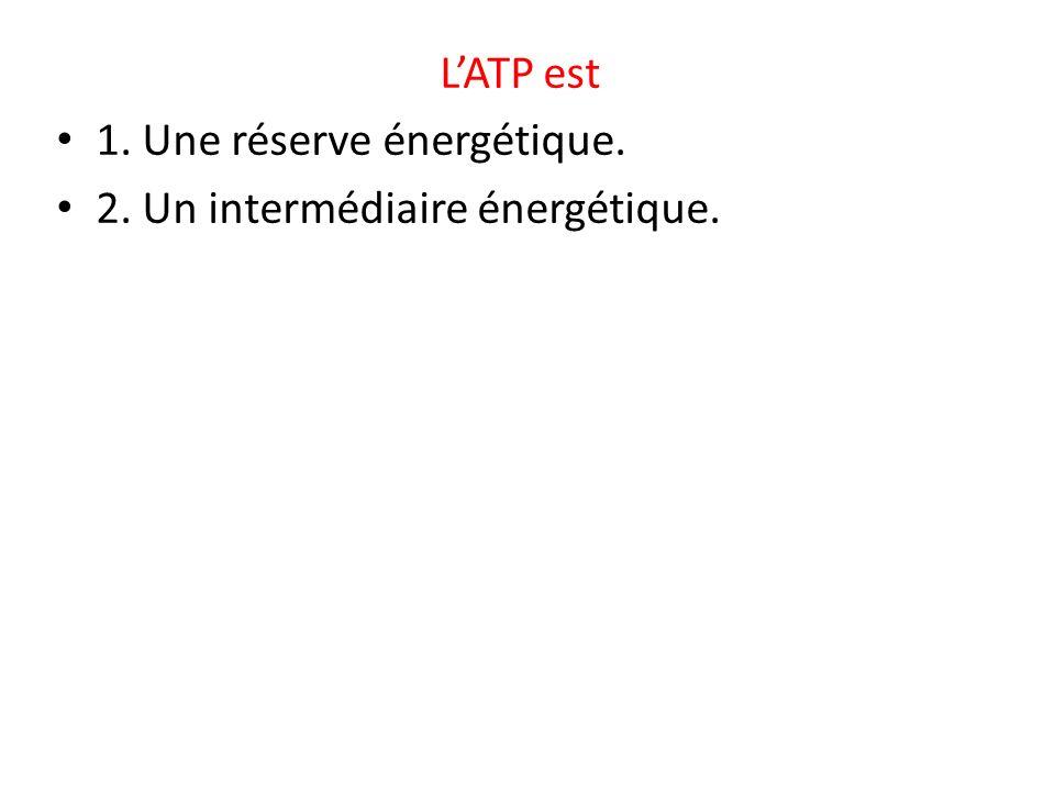 LATP est 1. Une réserve énergétique. 2. Un intermédiaire énergétique.