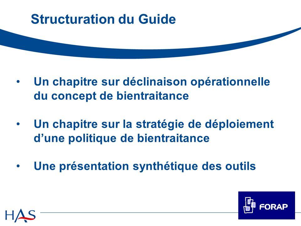 Structuration du Guide Un chapitre sur déclinaison opérationnelle du concept de bientraitance Un chapitre sur la stratégie de déploiement dune politiq