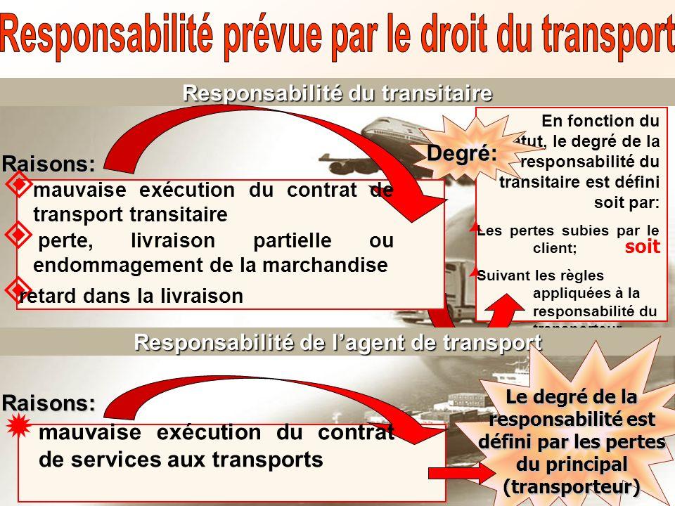 Responsabilité du transitaire En fonction du statut, le degré de la responsabilité du transitaire est défini soit par: Les pertes subies par le client