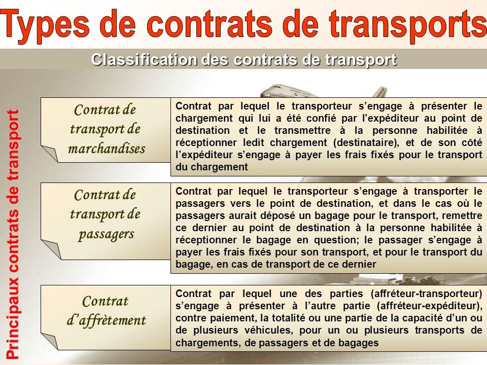 Classification des contrats de transport Principaux contrats de transport Contrat de transport de marchandises Contrat par lequel le transporteur seng