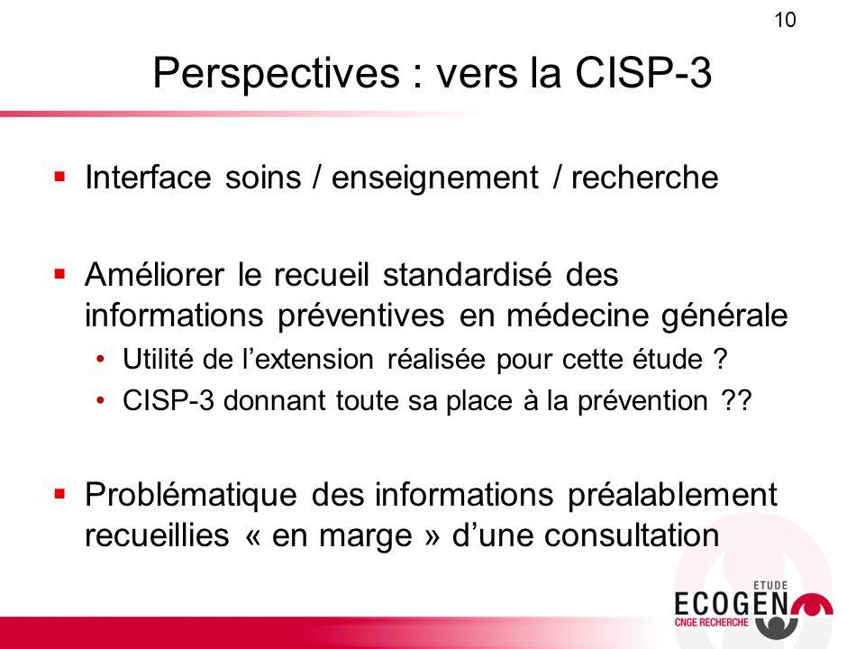 Perspectives : vers la CISP-3 Interface soins / enseignement / recherche Améliorer le recueil standardisé des informations préventives en médecine gén