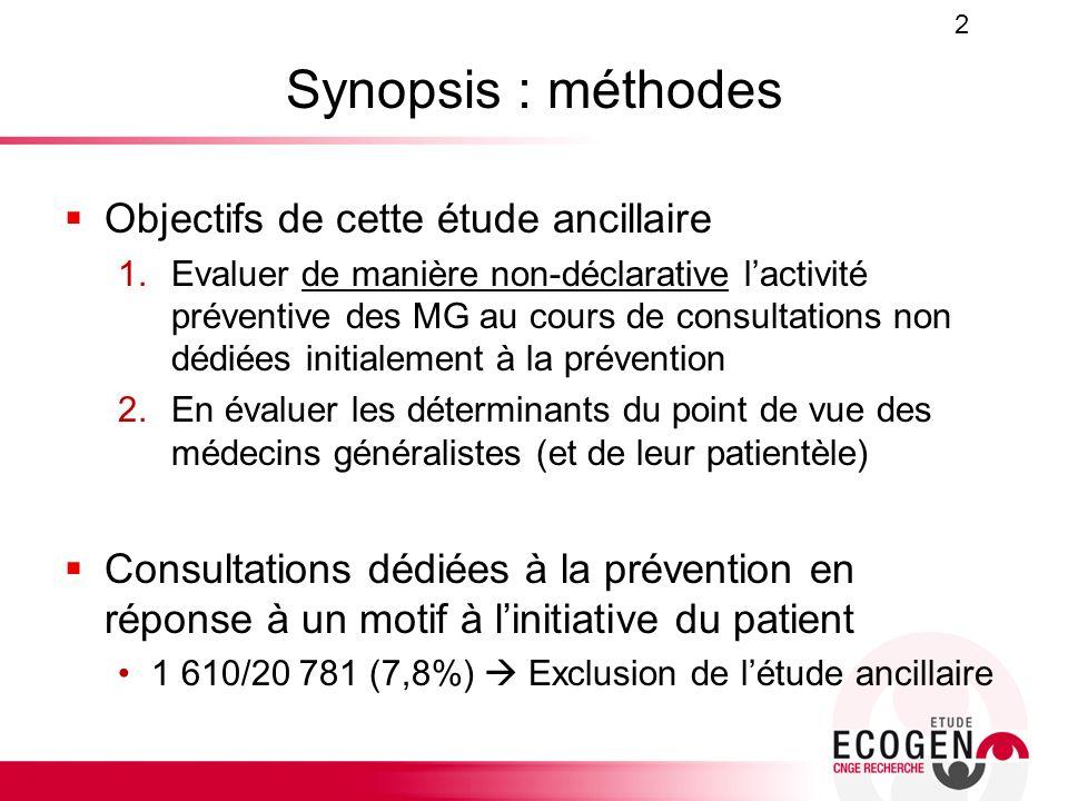 Synopsis : méthodes Objectifs de cette étude ancillaire 1.Evaluer de manière non-déclarative lactivité préventive des MG au cours de consultations non