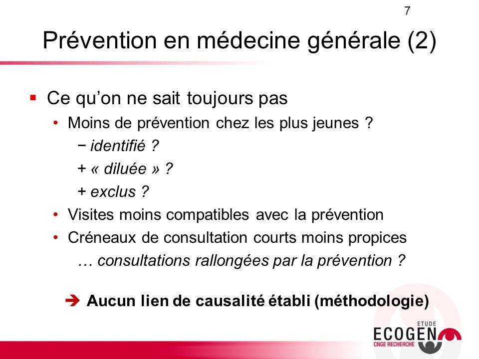 Prévention en médecine générale (2) Ce quon ne sait toujours pas Moins de prévention chez les plus jeunes ? identifié ? + « diluée » ? + exclus ? Visi