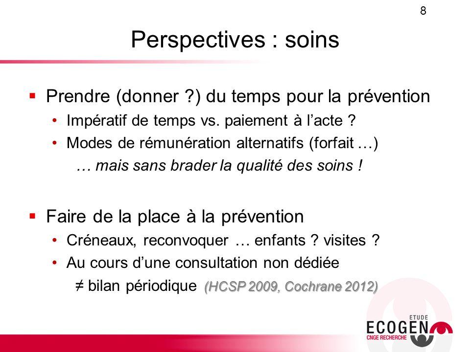 Perspectives : soins Prendre (donner ?) du temps pour la prévention Impératif de temps vs. paiement à lacte ? Modes de rémunération alternatifs (forfa