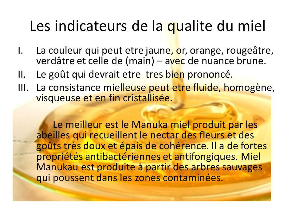 Les indicateurs de la qualite du miel I.La couleur qui peut etre jaune, or, orange, rougeâtre, verdâtre et celle de (main) – avec de nuance brune. II.