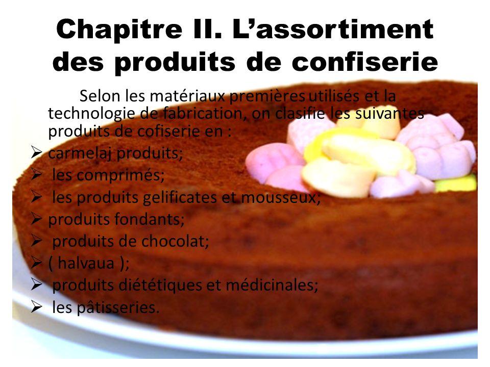 Chapitre II. Lassortiment des produits de confiserie Selon les matériaux premières utilisés et la technologie de fabrication, on clasifie les suivante