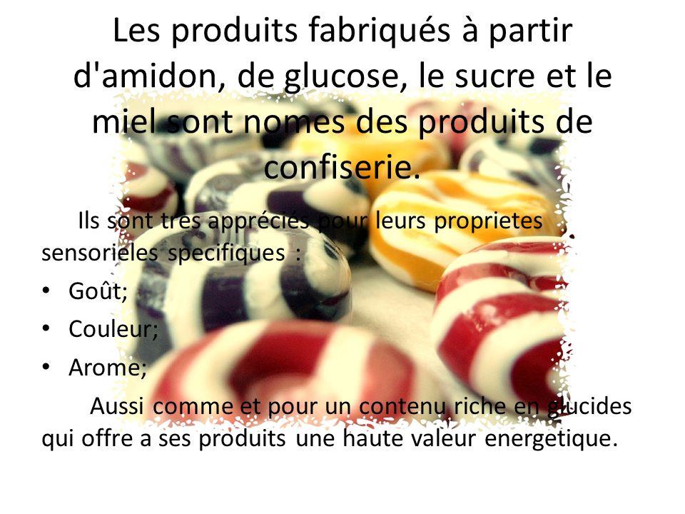 Dans la fabrication des confiseries on utilise: Le sucre; Lamidon; La glucose; Produits moussants; Gélifiants produits; Le miel; Le lait; Et des autres produits moins importants.