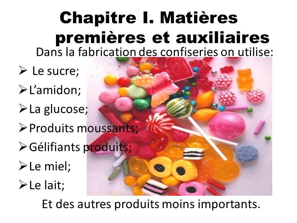 Dans la fabrication des confiseries on utilise: Le sucre; Lamidon; La glucose; Produits moussants; Gélifiants produits; Le miel; Le lait; Et des autre