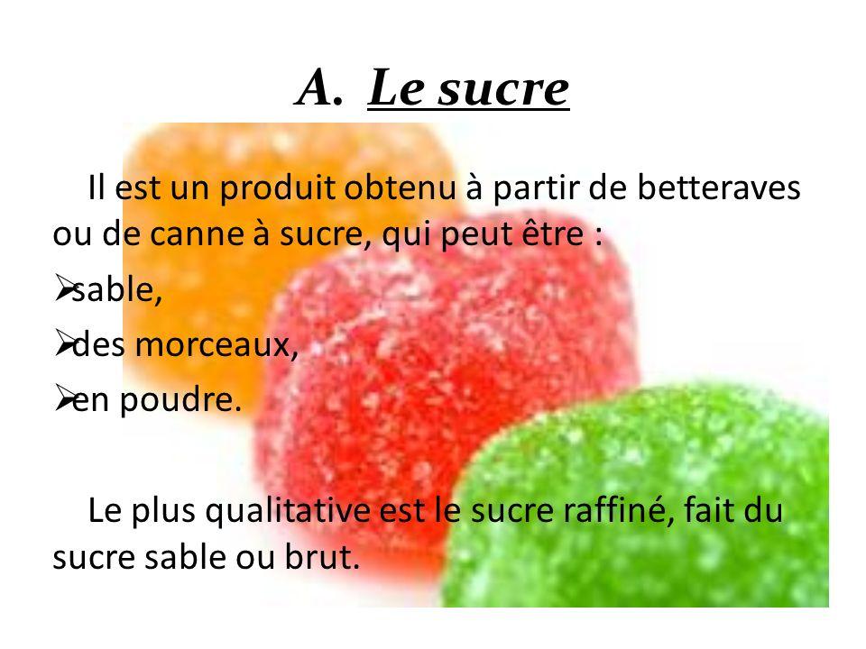 Il est un produit obtenu à partir de betteraves ou de canne à sucre, qui peut être : sable, des morceaux, en poudre. Le plus qualitative est le sucre