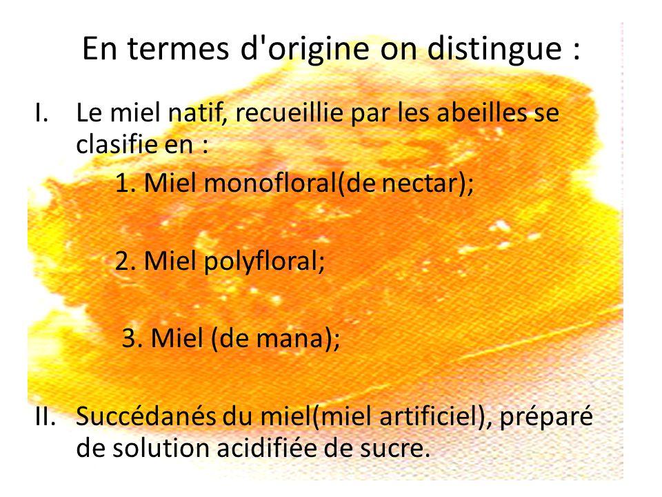 En termes d'origine on distingue : I.Le miel natif, recueillie par les abeilles se clasifie en : 1. Miel monofloral(de nectar); 2. Miel polyfloral; 3.
