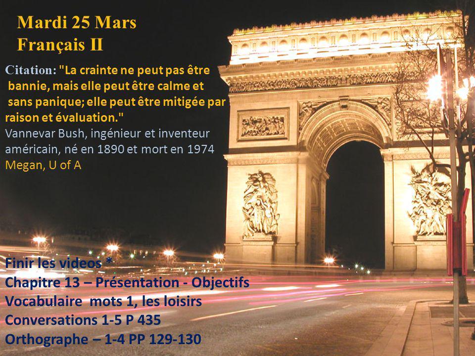 Mardi 25 Mars Français II Citation: