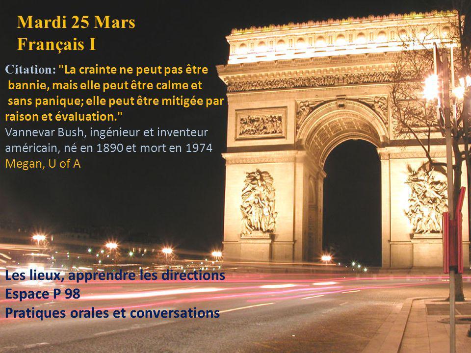 Mardi 25 Mars Français I Citation: