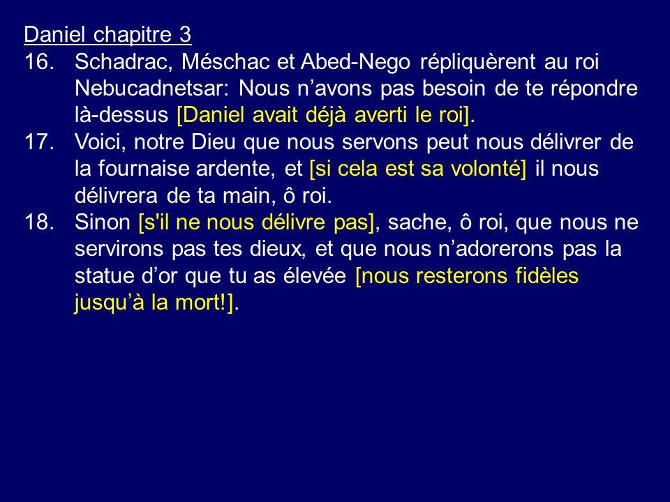 Daniel chapitre 3 16.Schadrac, Méschac et Abed-Nego répliquèrent au roi Nebucadnetsar: Nous navons pas besoin de te répondre là-dessus [Daniel avait d