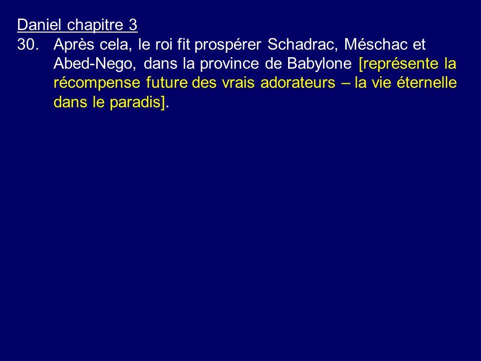 Daniel chapitre 3 30.Après cela, le roi fit prospérer Schadrac, Méschac et Abed-Nego, dans la province de Babylone [représente la récompense future de