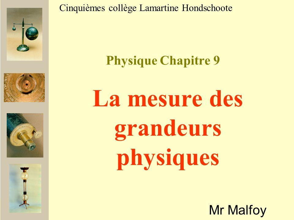 Physique Chapitre 9 Mr Malfoy Cinquièmes collège Lamartine Hondschoote La mesure des grandeurs physiques