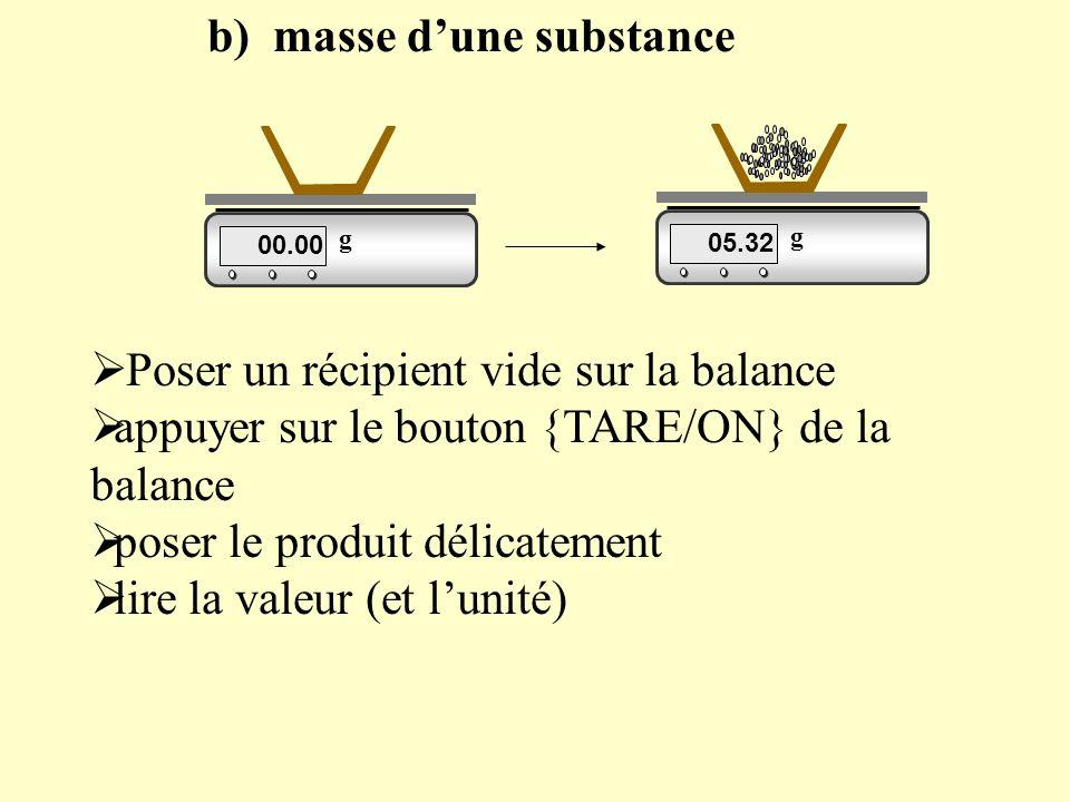 b) masse dune substance 00.00 g 05.32 g Poser un récipient vide sur la balance appuyer sur le bouton {TARE/ON} de la balance poser le produit délicatement lire la valeur (et lunité)