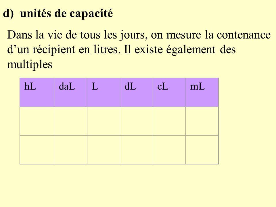 d) unités de capacité Dans la vie de tous les jours, on mesure la contenance dun récipient en litres.
