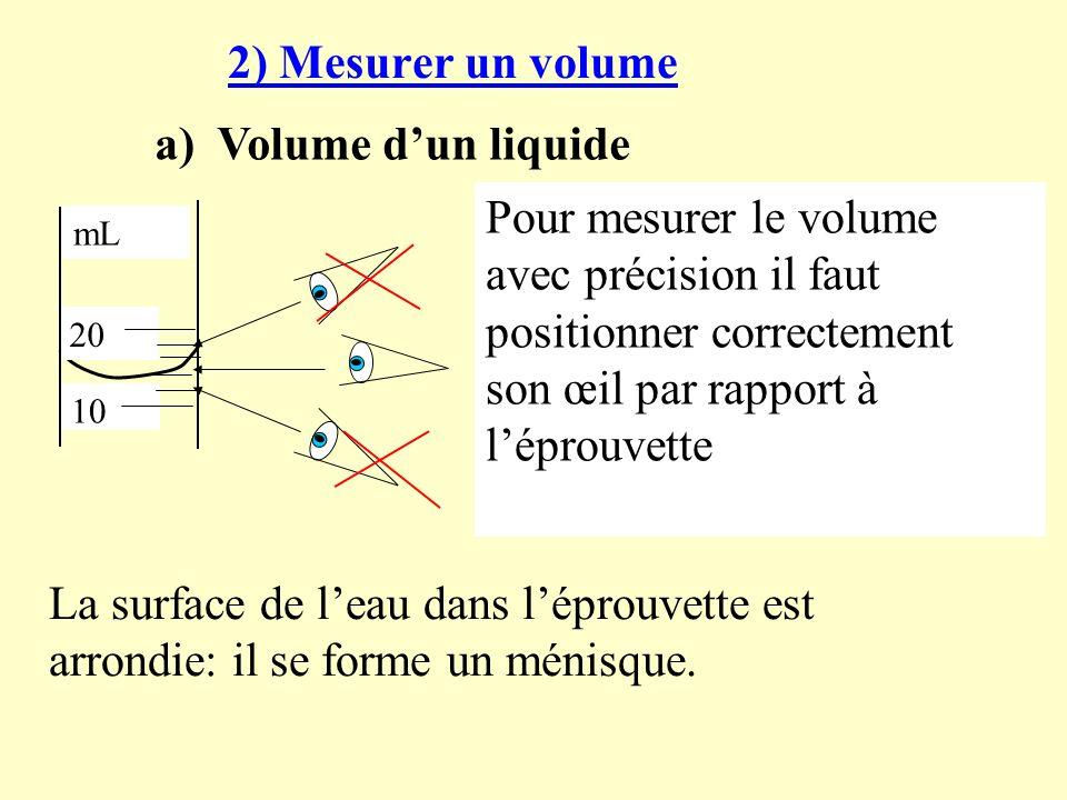 2) Mesurer un volume a) Volume dun liquide 20 10 mL On mesure un volume avec une éprouvette graduée.