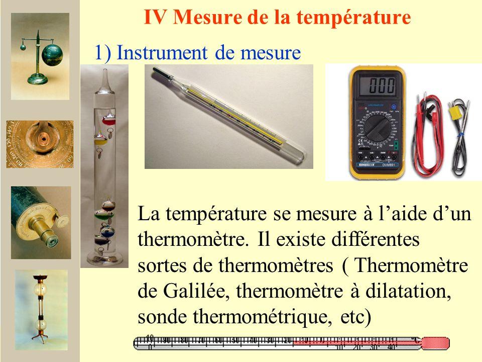 IV Mesure de la température 1) Instrument de mesure La température se mesure à laide dun thermomètre.