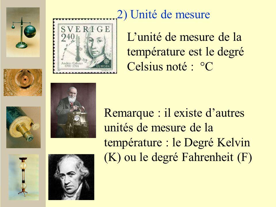 2) Unité de mesure Lunité de mesure de la température est le degré Celsius noté : °C Remarque : il existe dautres unités de mesure de la température : le Degré Kelvin (K) ou le degré Fahrenheit (F)