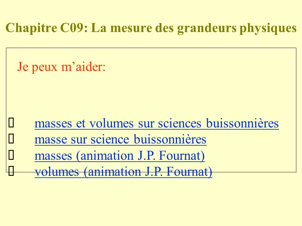 Chapitre C09: La mesure des grandeurs physiques Je peux maider: masses et volumes sur sciences buissonnières masse sur science buissonnières masses (animation J.P.