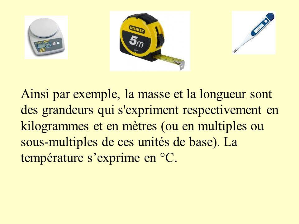 Ainsi par exemple, la masse et la longueur sont des grandeurs qui s expriment respectivement en kilogrammes et en mètres (ou en multiples ou sous-multiples de ces unités de base).